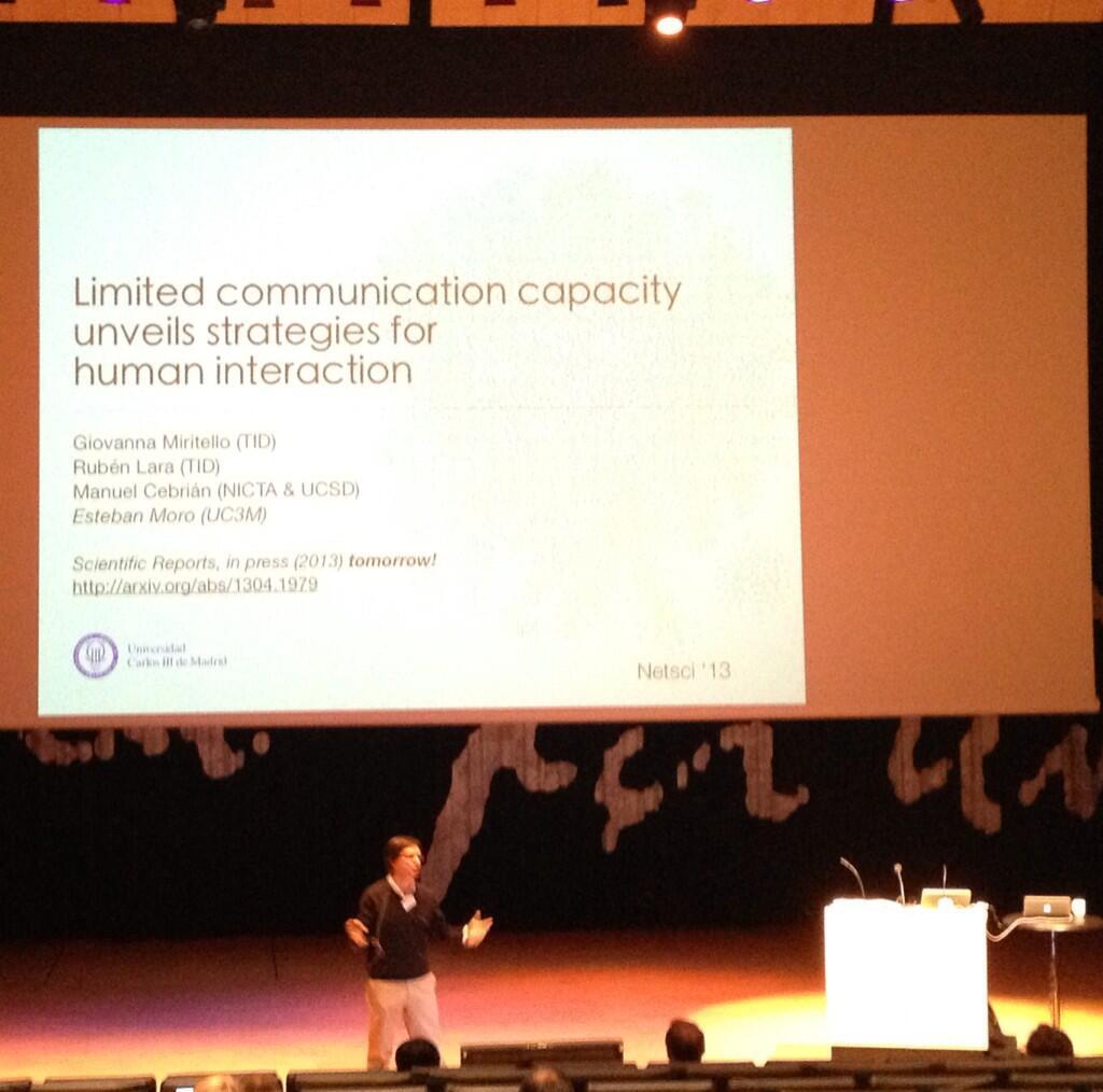 Giving one (of the 3) talks at NetSci'13 in Copenhaguen
