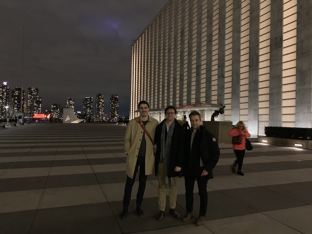 My friend Manuel García Herranz invited me to visit the UN main building. Here we are together with Vedran Sekara
